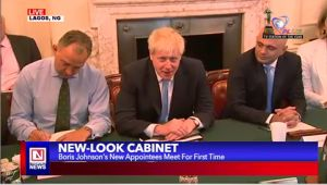 UK's New Prime Minister Addresses New Cabinet for the First Time