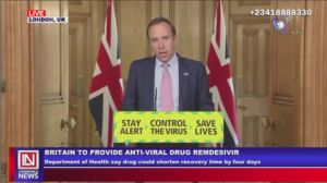 COVID-19: UK to Test Anti-Viral Drug, Remedesivir