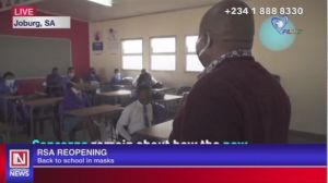 COVID-19: Students Return to Classrooms with Face Masks as Schools Reopen in South Africa