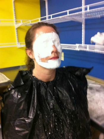 Julie having her mask applied.