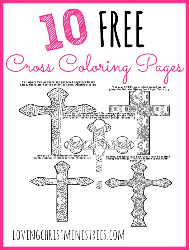 10 FREE cross coloring pages - each has its own verse and an original pattern to color. They're perfect for quiet time in reflection and prayer with God.