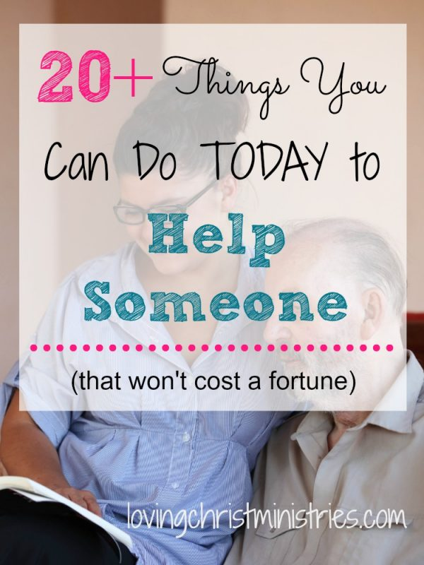 Sometimes, the Holy Spirit nudges our hearts to help someone. We hear God clearly and know what He's calling us to do. Other times, we feel the Spirit but aren't sure where we're being led. Use these 20+ ways to help someone TODAY and make a difference in someone's life.
