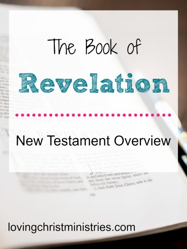 Picture of Bible opened to Revelation with title text overlay