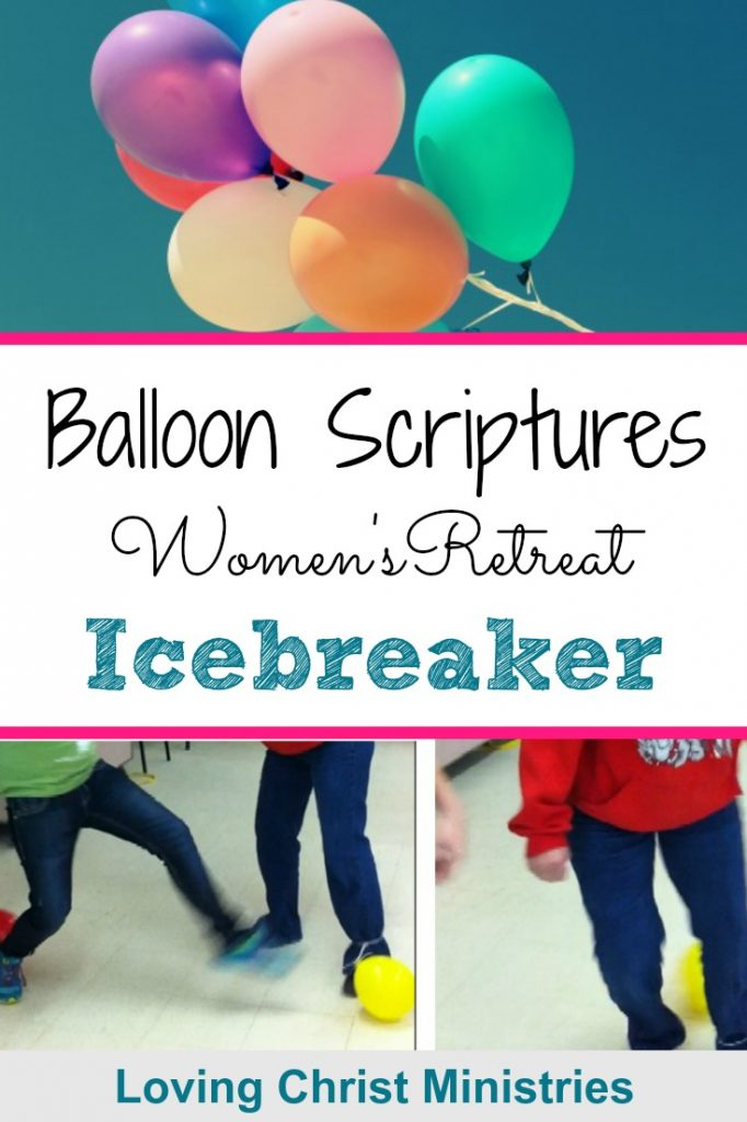 Image of balloons and women stomping on balloons plus a title text overlay