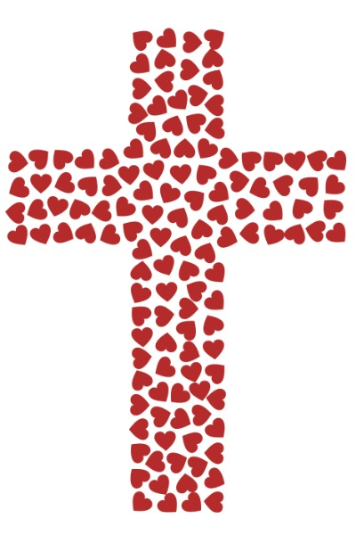 image of hearts put together in the shape of a cross