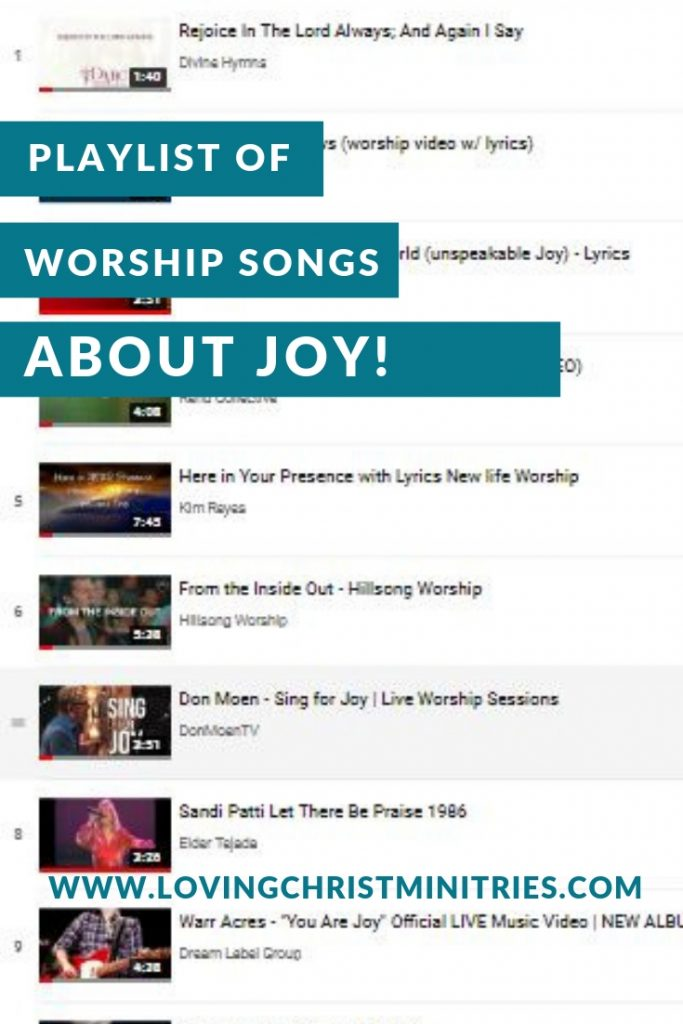 Playlist of Worship Songs about Joy