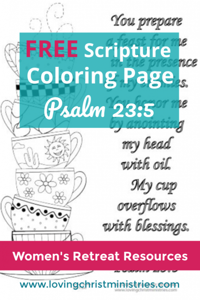 Free Scripture Coloring Page Cups Runneth Over