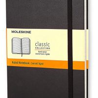 "Moleskine Classic Notebook, Hard Cover, Large (5"" x 8.25"") Ruled/Lined, Black"