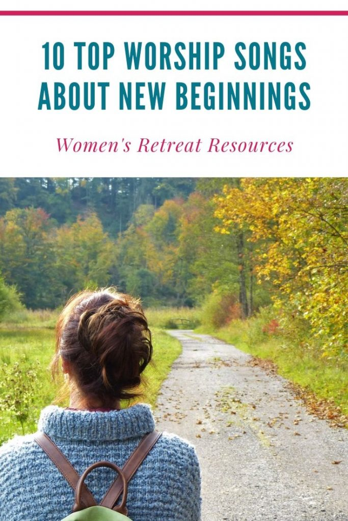 woman on path with title text overlay - Worship Songs about New Beginnings