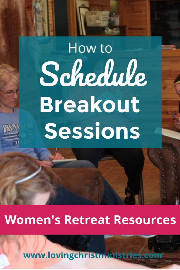 image of women writing in prayer journals with title text overlay - How to Schedule Breakout Sessions
