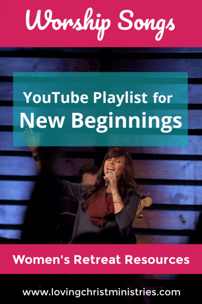 woman singing on stage with title text overlay - Worship Songs Playlist for New Beginnings