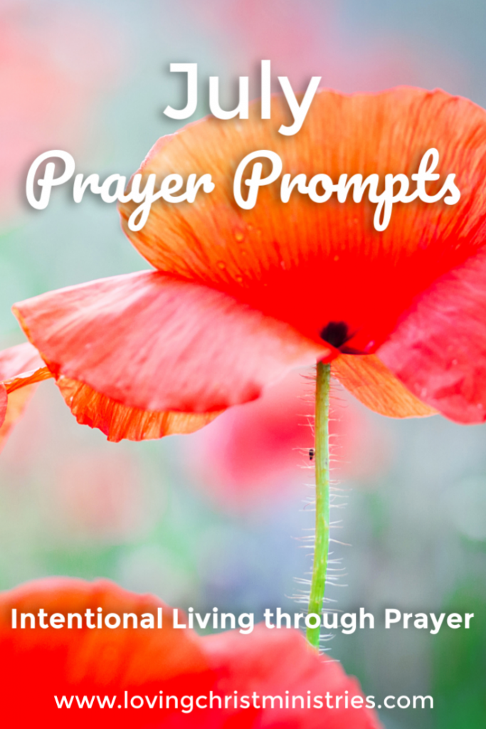 image of orange poppy with title text overlay - July Prayer Journal Prompts