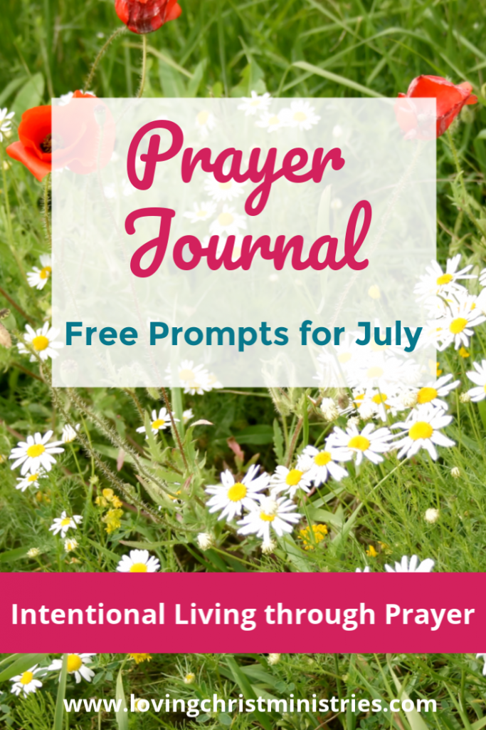 Image of red and white flowers with title text overlay - July Prayer Journal Prompts