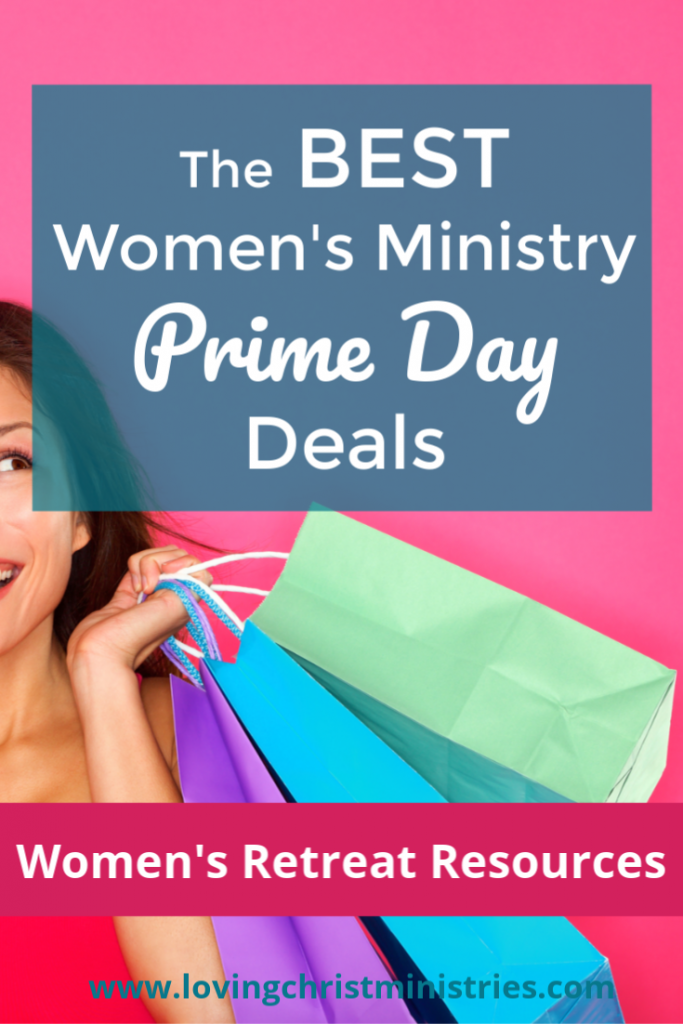 image of woman holding gift bags with title text overlay - Women's Ministry Prime Day Deals