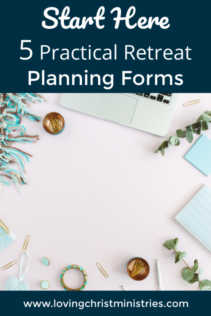 image of keyboard on pink background with title text overlay - Retreat Planning Forms