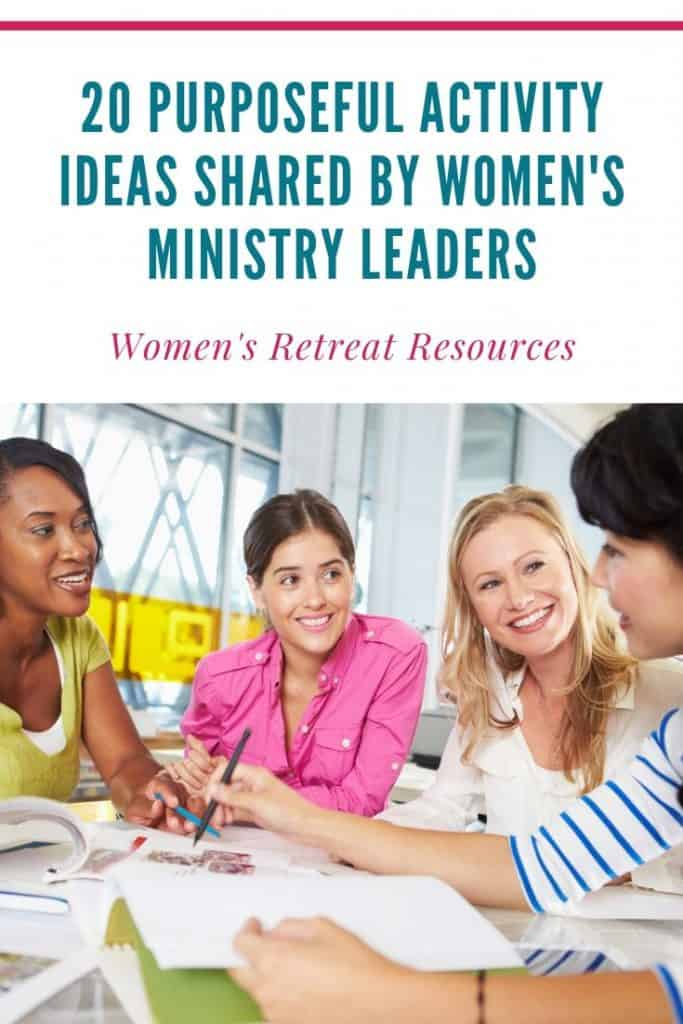 image of women talking at a table with title text overlay - Activity Ideas