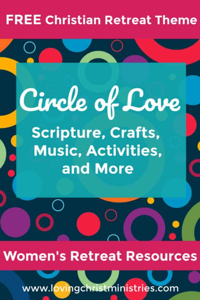 image of colorful circles with blue background and title text overlay - Circle of His Love