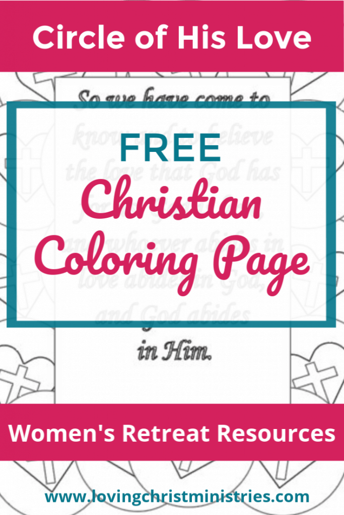 image of Christian coloring page with title text overlay - Circle of His Love