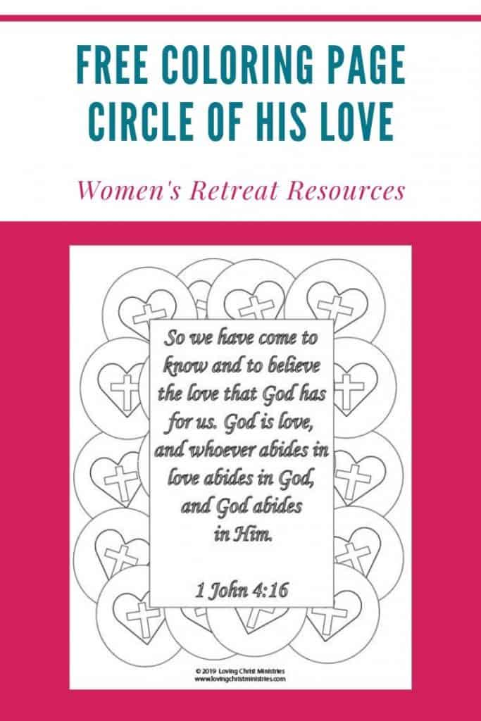 image of 1 John 4:16 coloring page with title text overlay - Circle of His Love