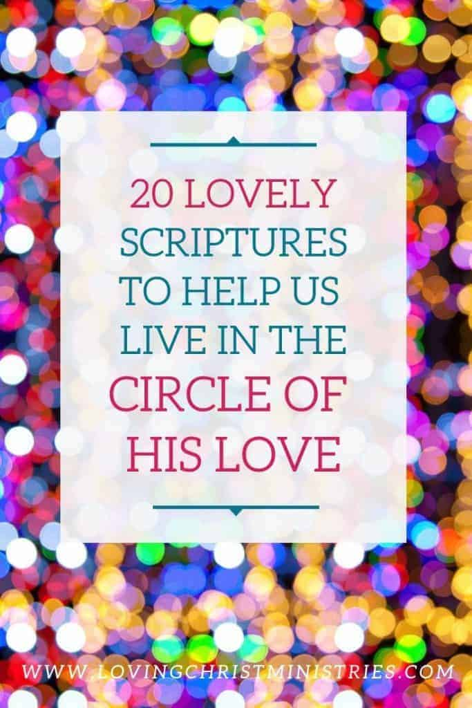 image of colorful circles with title text overlay - Scriptures for the Circle of Love