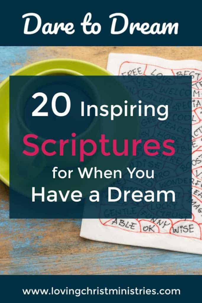 image of coffee cup on napkin with title text overlay - Dare to Dream Scriptures