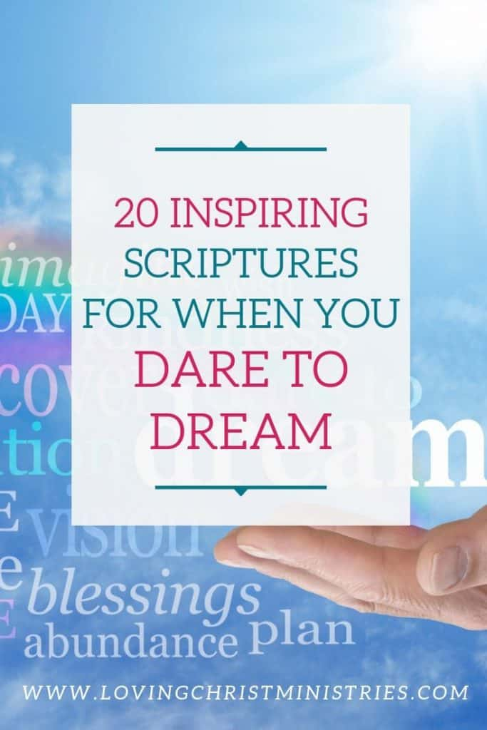 image of hand carrying a rainbow with title text overlay - Dare to Dream scriptures