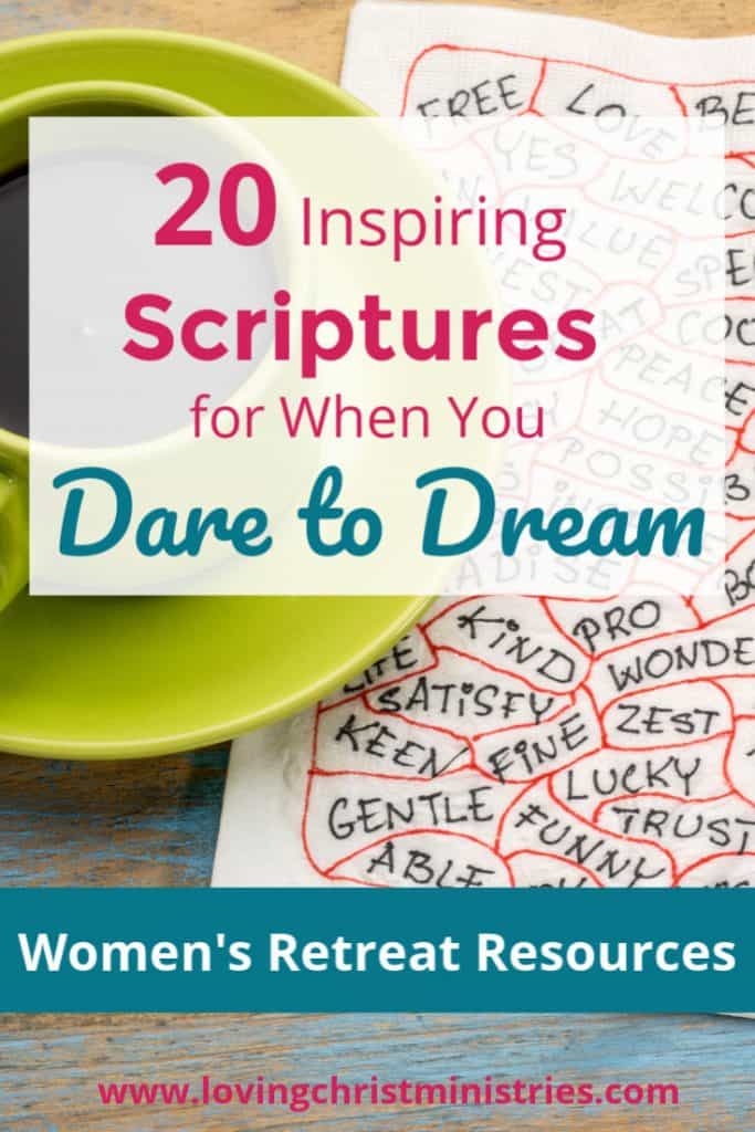 image of coffee cup on napkin with inspiring words with title text overlay - Dare to Dream Scriptures