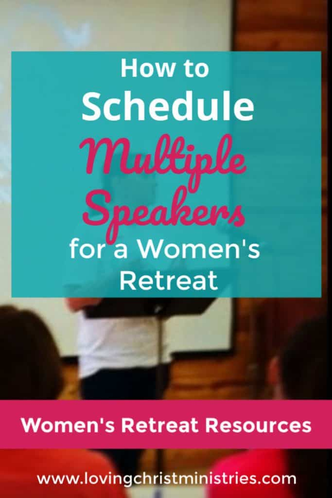 image of speaker at a retreat with title text overlay - How to Schedule Multiple Retreat Speakers