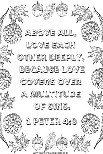 image of fall scripture coloring page with title text overlay - Fall in Love with Jesus