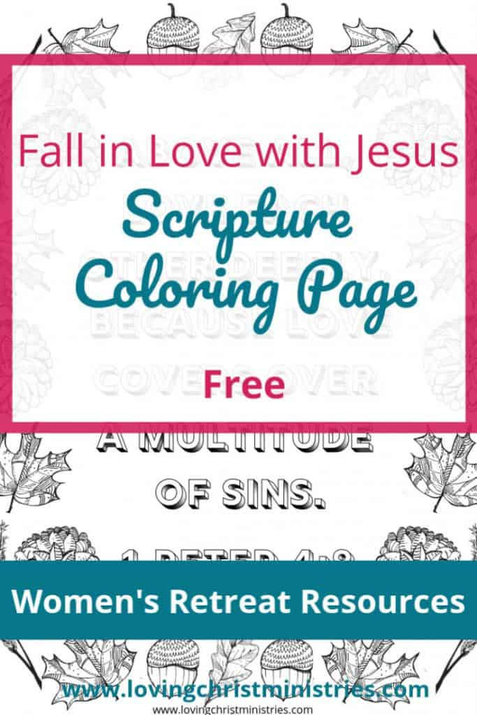 image of fall coloring page with title text overlay - Fall in Love with Jesus