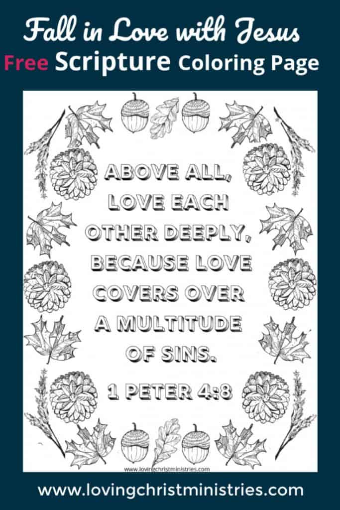 image of fall scripture coloring page