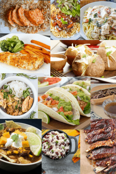 collage of main dish slow cooker meals