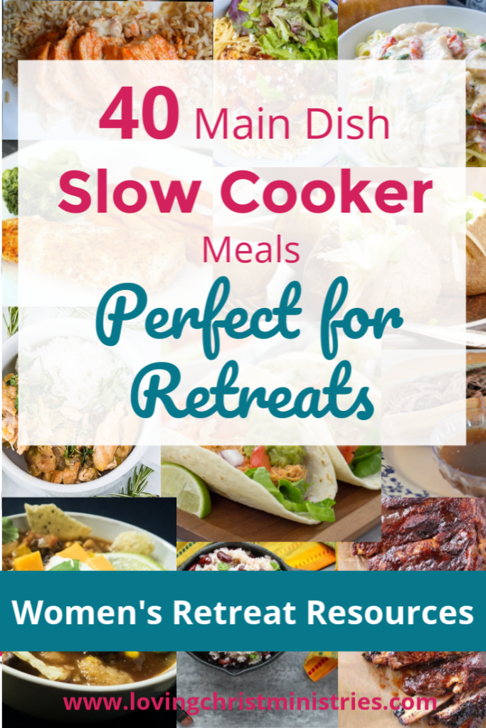 collage of food with title text overlay - 40 Main Dish Slow Cooker Meals
