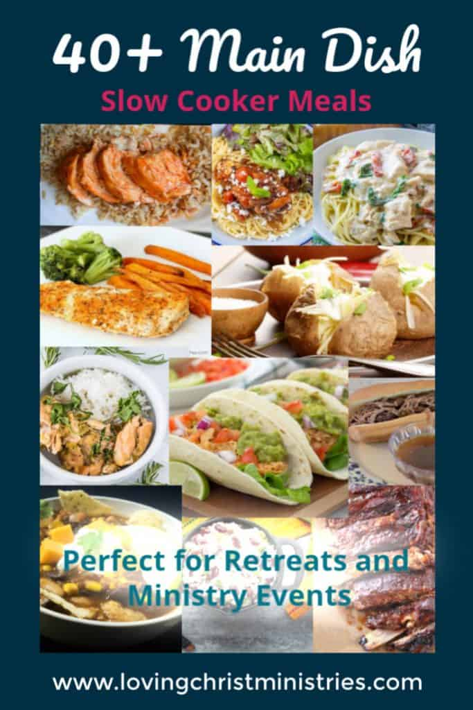 collage of slow cooker meal with text Main Dish Slow Cooker Meals