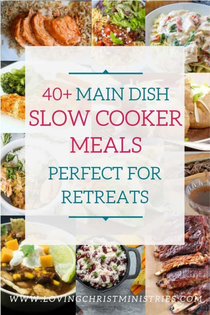 collage of slow cooker meals with title text overlay - Main Dish Slow Cooker Meals