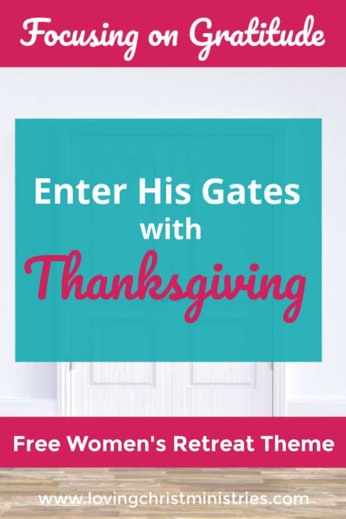 image of white doors with title text overlay - Thanksgiving Retreat Theme