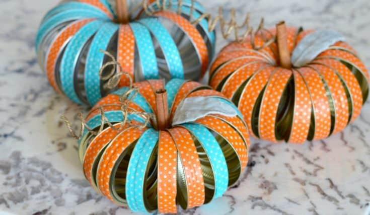 Mason Jar Lid Pumpkins DIY