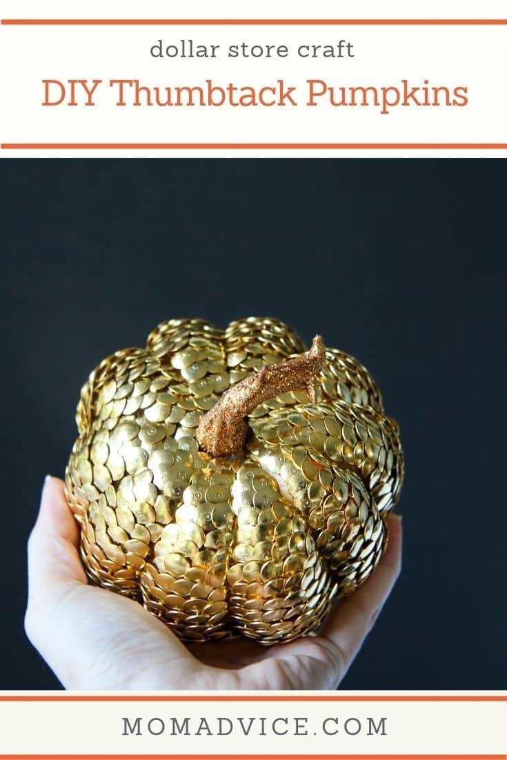 DIY Decorative Thumbtack Pumpkins