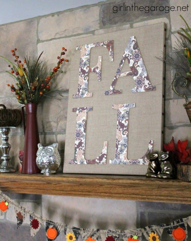 Fall Burlap Art and Mantel {Fall Home Decor Tour}
