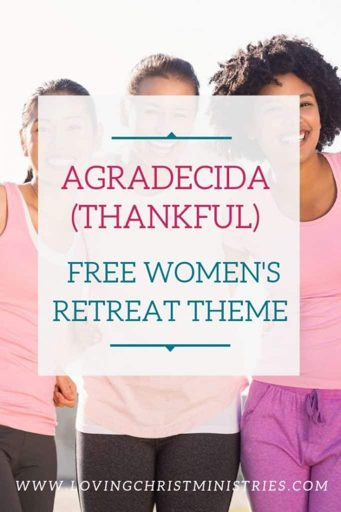 image of women laughing with title text overlay - Thankful