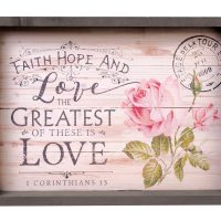P. GRAHAM DUNN Faith Hope & Greatest is Love Floral 20 x 15 Inch Solid Pine Wood Farmhouse Serving Tray