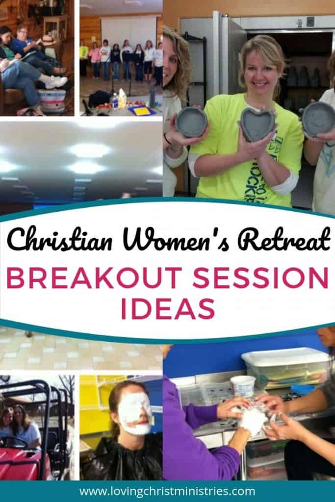 collage of women's retreat activities with title text overlay - Breakout Session Ideas