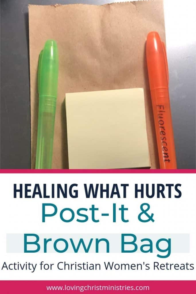 image of brown bag with title text overlay - Post-It & Brown Bag Activity for Christian Women