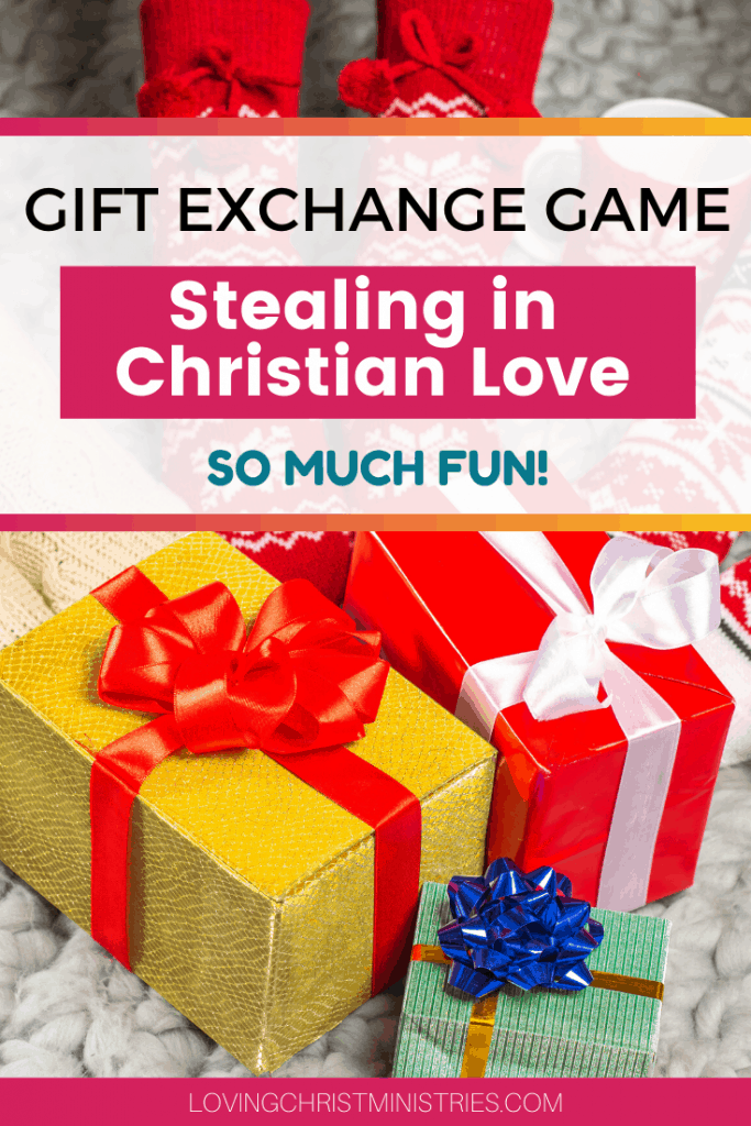 image of bright colored Christmas gifts with title text overlay - Dirty Santa Gift Exchange Game