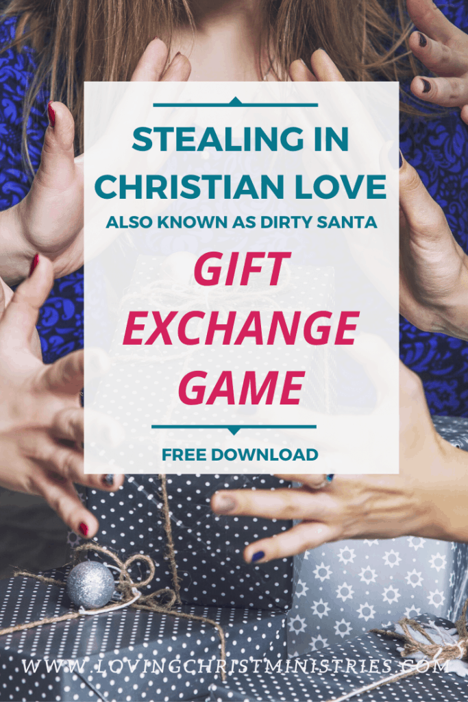 image of women around gifts with title text overlay - Stealing in Christian Love - Dirty Santa Gift Exchange Game
