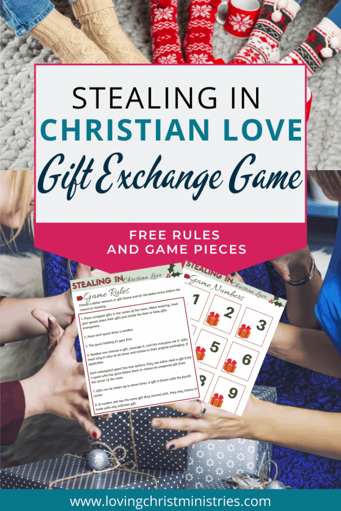 image of women exchanging gifts with title text overlay - Stealing in Christian Love - Dirty Santa Gift Exchange Game