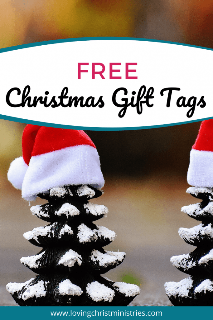image of pine cones with Santa Hats with title text overlay - free Christmas gift tags
