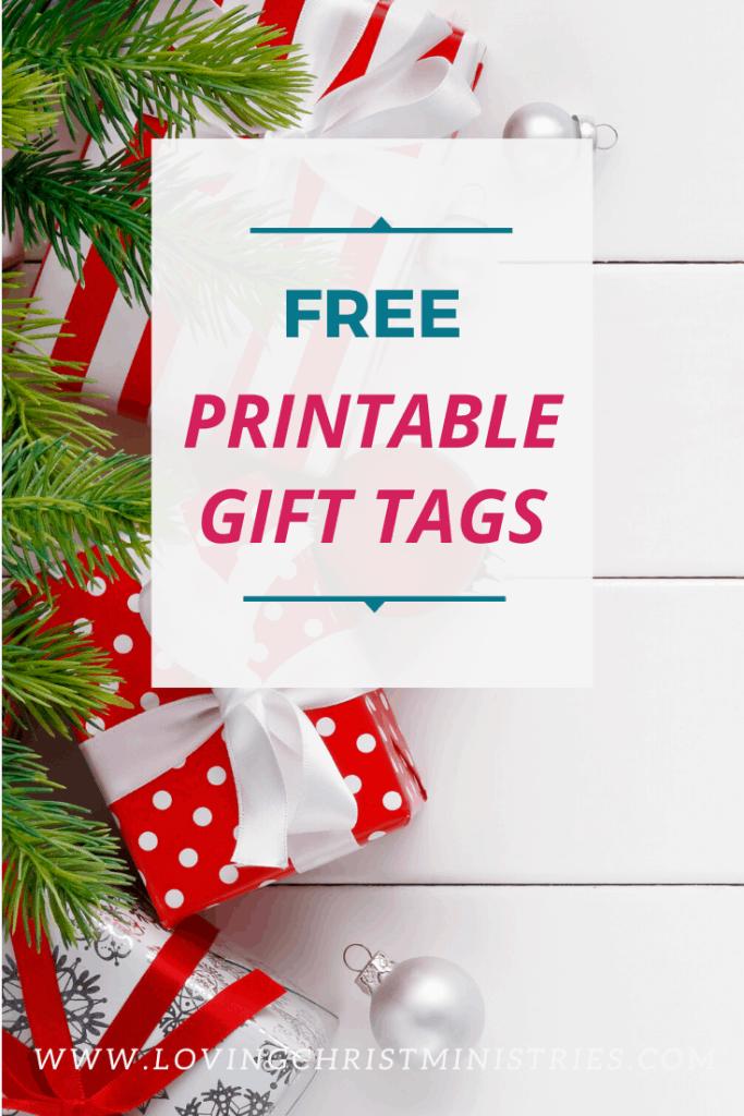 image of Christmas gifts with title text overlay - free printable Christmas gift tags