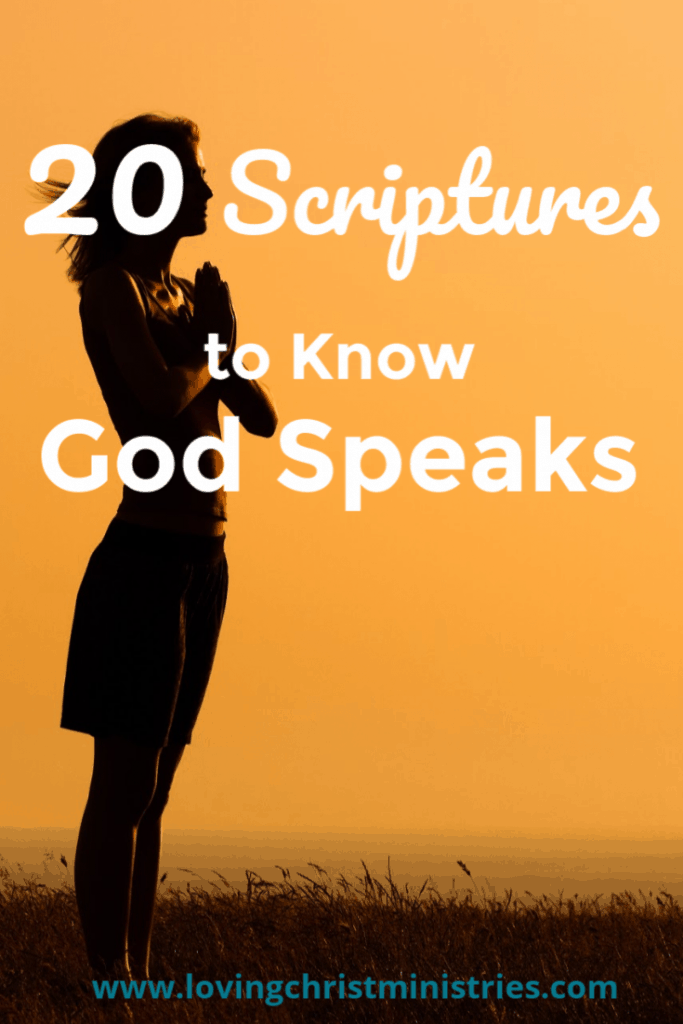 image of woman standing in sunset praying with title text overlay - Scriptures to Know God Speaks