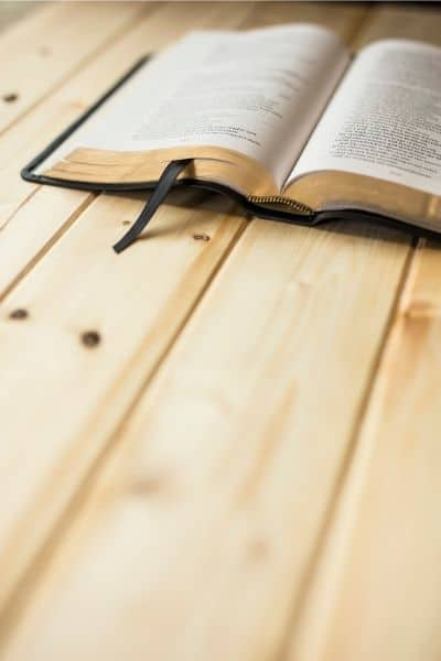 image of Bible on a wooden table